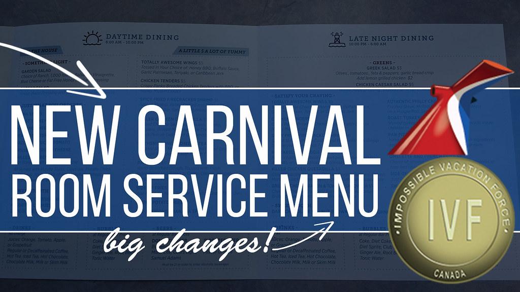 New Carnival Room Service Menu