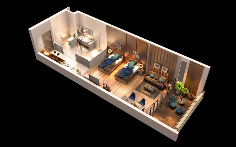 Thiết kế 3D của căn hộ đơn Malibu MGM Hội An mẫu 2