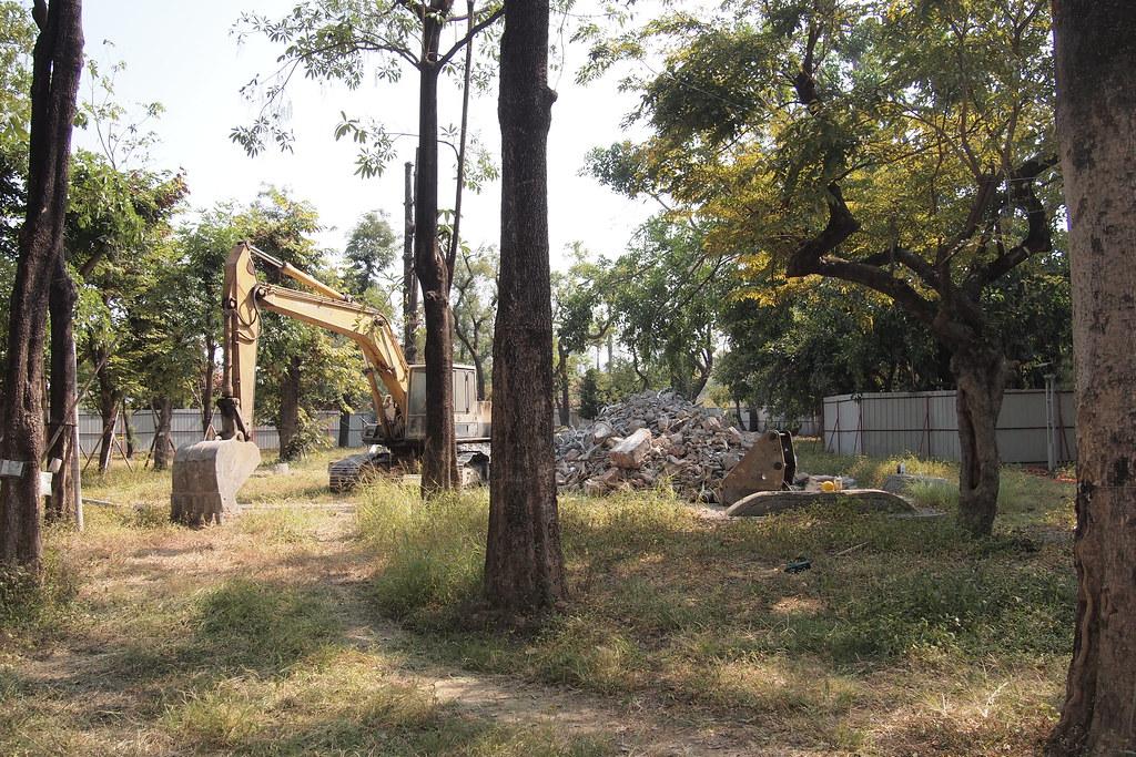 高雄市政府改造公園砍樹、增加水泥設施,遭民團詬病。攝影:李育琴