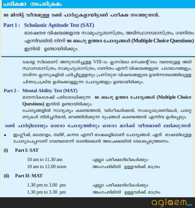 Kerala NMMS 2019 – 2020 for Class VIII – AglaSem Schools