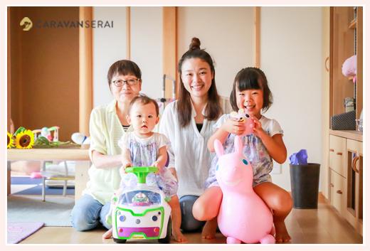 ロディ ご自宅で家族写真撮影