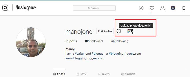 upload instagram photos
