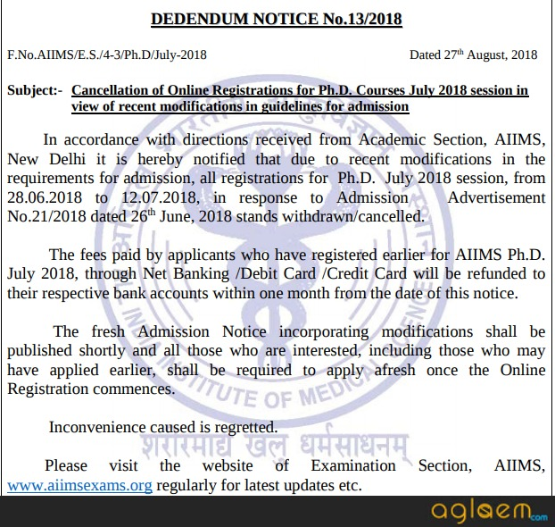 AIIMS Cancels PhD July 2018 Online Registrations; Candidates To Get Refund, New Admission Notice To Come Soon