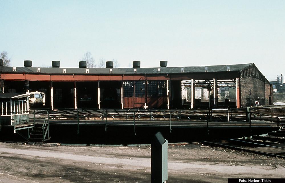 nördlicher Lokschuppenteil des Bw Stolberg, 1982