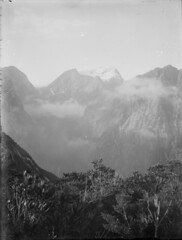 Scenic view of mountains taken during Edgar Williams and Jack Murrell's climbing expedition, Fiordland National Park, South Island