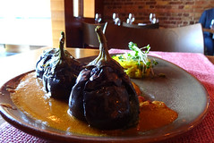 Baby aubergines with peanut sauce and semolina cake at Babur, Forest Hill, London SE23