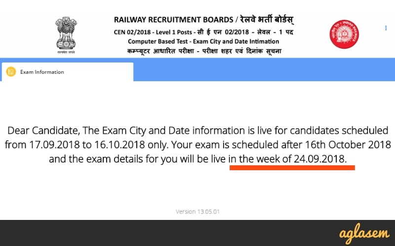 RRB Ahmedabad Group D Exam Date 2018