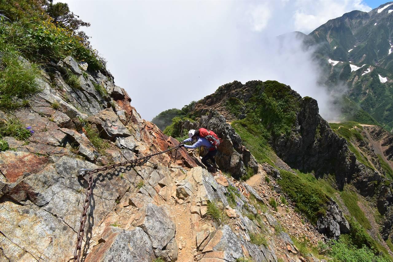 唐松岳から五竜岳 鎖場を下る