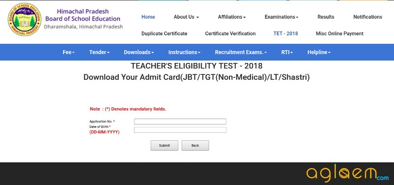 HP TET 2018 Admit Card
