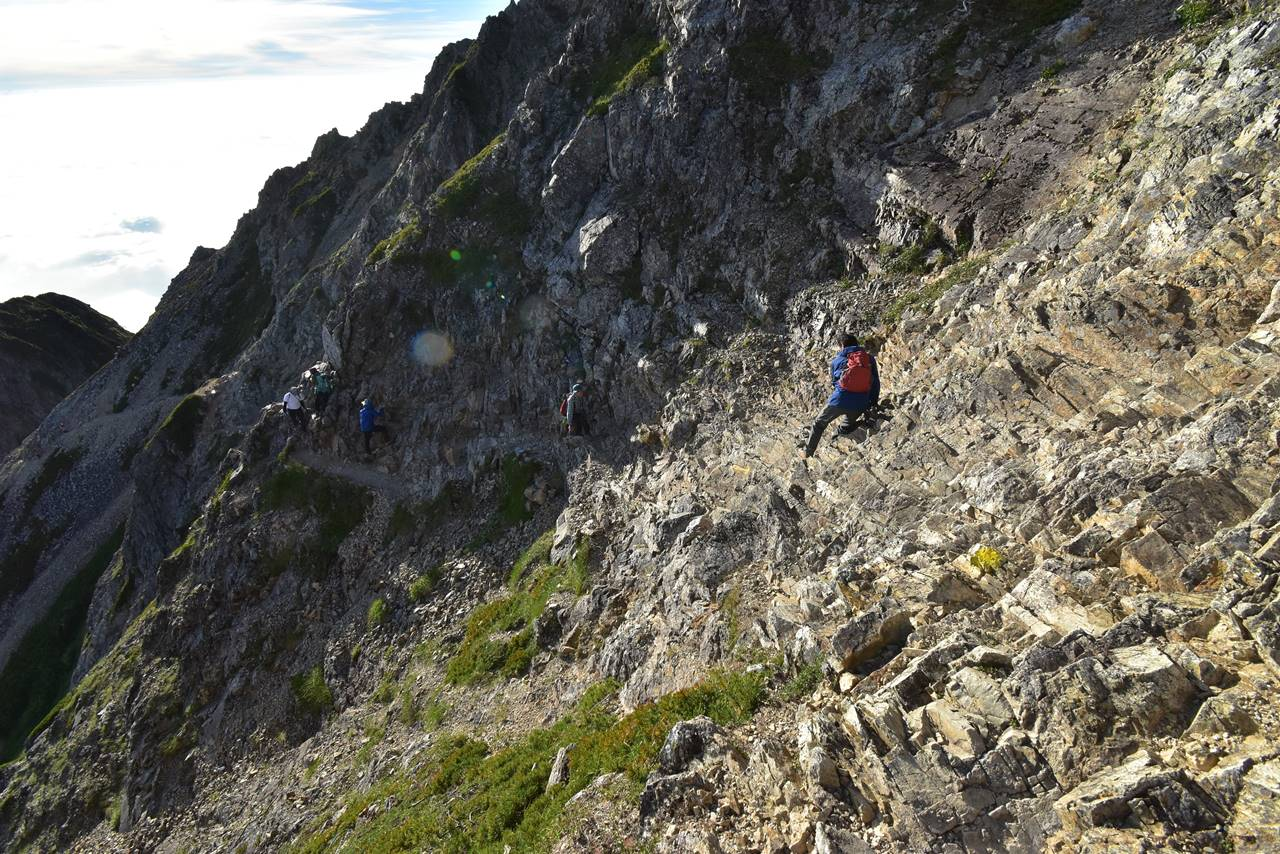 五竜岳 岩のトラバース路