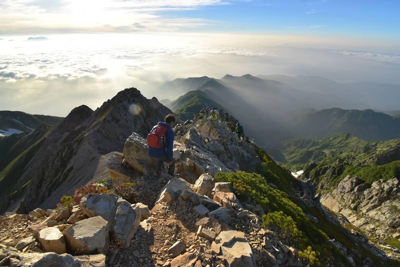 五竜岳山頂から五竜山荘へ下山
