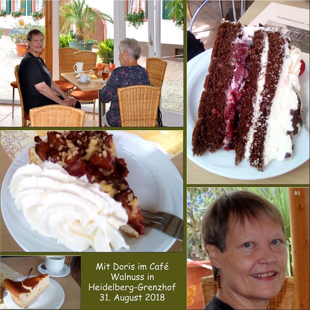 31. August 2018: Mit Doris im Café Walnuss in Heidelberg-Grenzhof ... Fotos: Brigitte Stolle