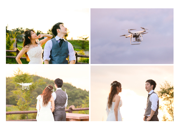 森の中(屋外)で結婚式(披露宴)ブライダル/ドローンを使っての撮影