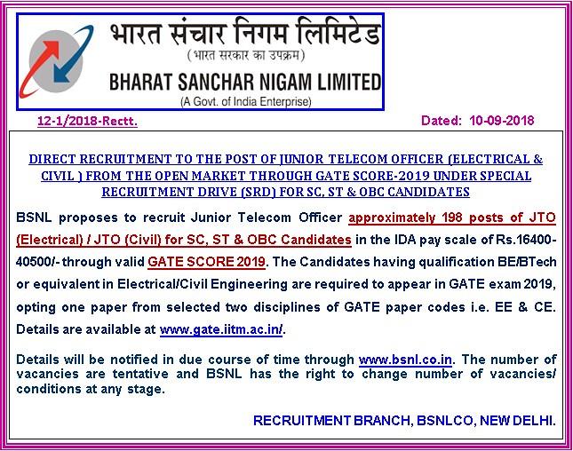 BSNL Recruitment Through GATE 2019