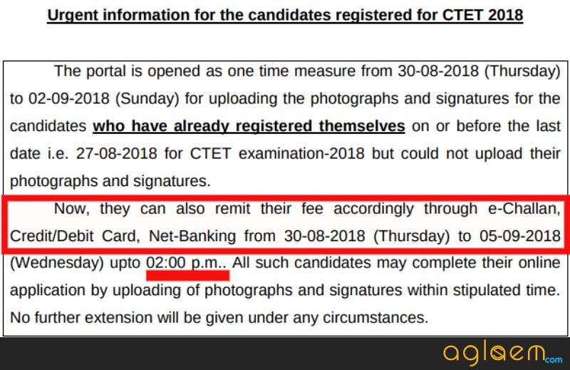 notice for remitting the CTET Application fee
