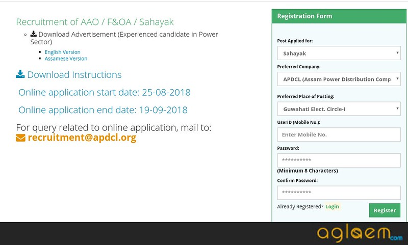 Assam APDCL Sahayak Online Application 2018