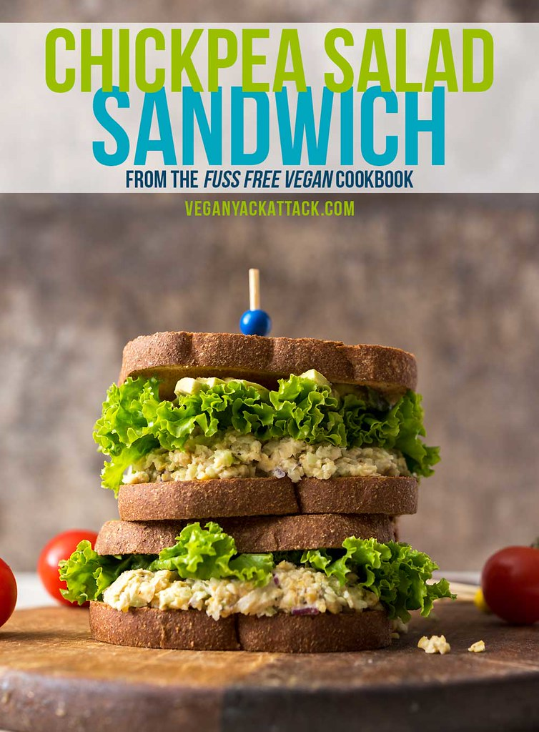 This Chickpea Salad Sandwich from Sam Turnbull'sFuss-Free Vegan cookbook is exactly that - fuss-free! It makes for an easy and delicious lunch. #vegan #glutenfreeoption #lunch #backtoschool