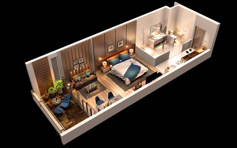 Thiết kế 3D của căn hộ đơn Malibu MGM Hội An mẫu 1