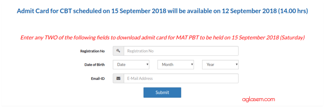 MAT September 2018 Admit Card