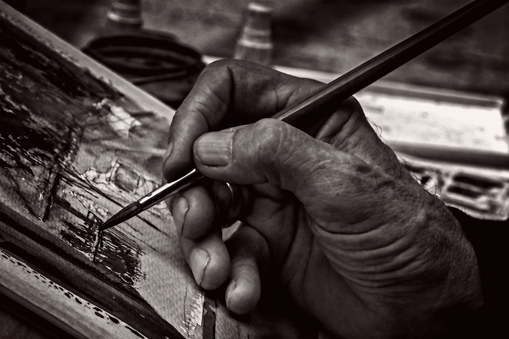 Black & White:Painting Class, Lower Downtown, Denver