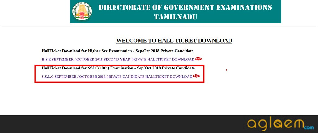 TN SSLC Supplementary Hall Ticket September/October 2018