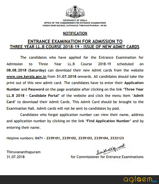 Kerala LLB 3 Year 2018 Admit Card / Hall Ticket (Released) - Download Here  %Post Title | AglaSem