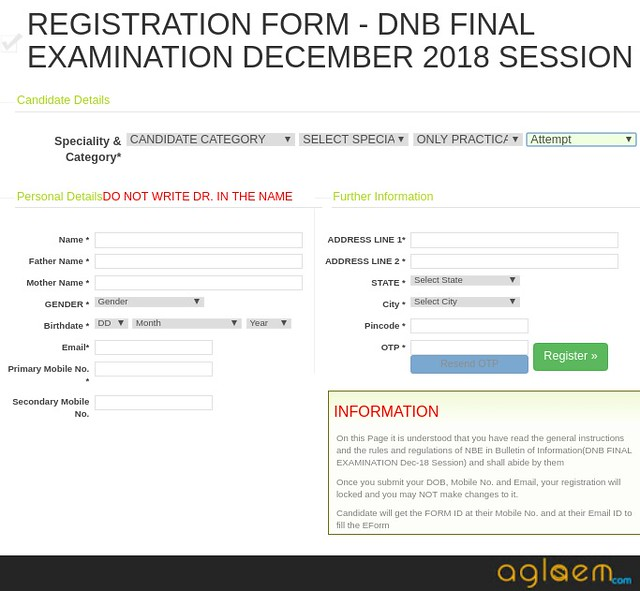 DNB Final December 2018 Practical  Result, Form Submission For DNB Final Practical Examination