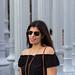 black off the shoulder dress, round rattan bag, urban light-8.jpg