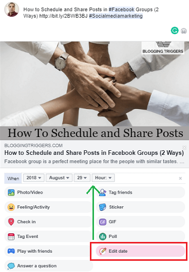 schedule posts facebook profile