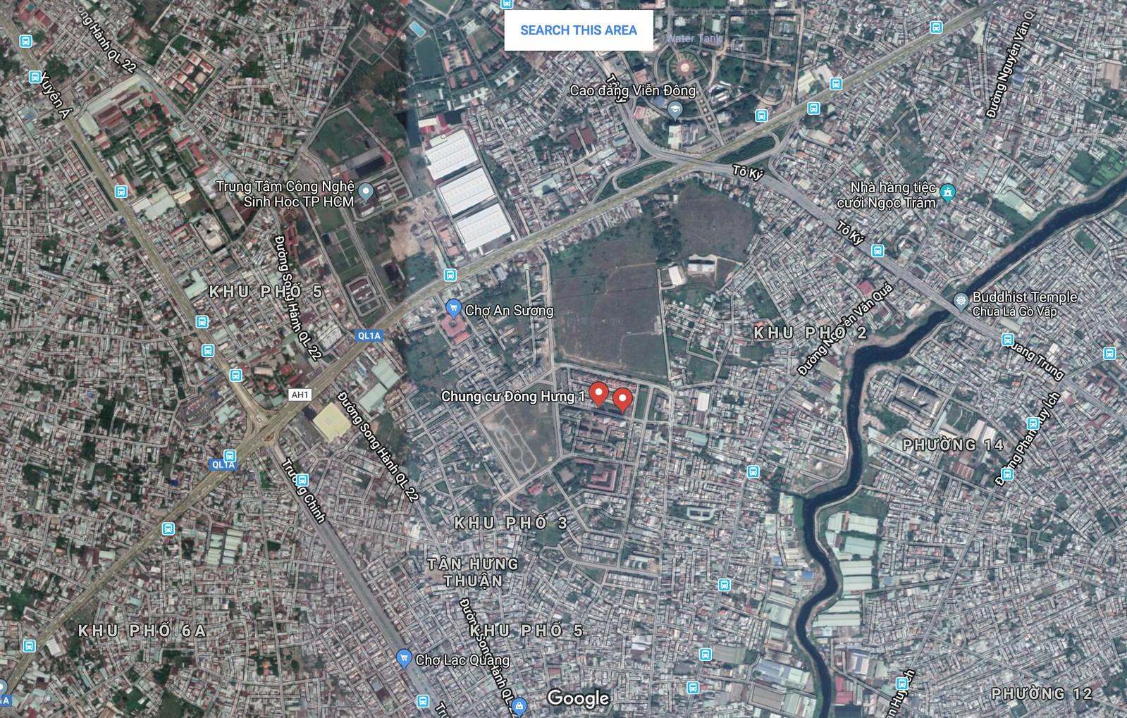 Vị trí dự án Centeria Đông Thuận Quận 12: kề bên chung cư Đông Hưng