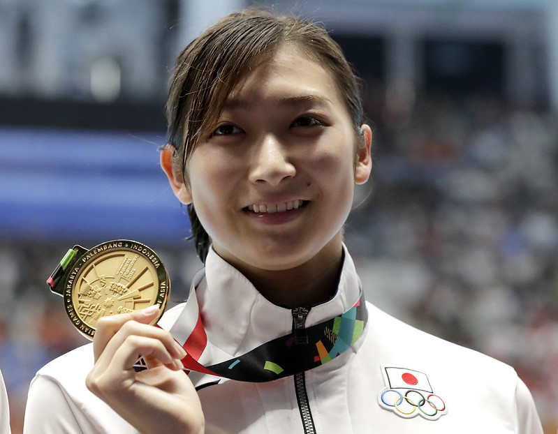 池江璃花子個人拿下6金2銀,獲本屆亞運MVP。(達志影像)