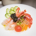 Sweet shrimp 단새우 샐러드 - sweet shrimp crudo salad with frozen tomato sphere and Korean pear, cucumber, scallion, and seaweed