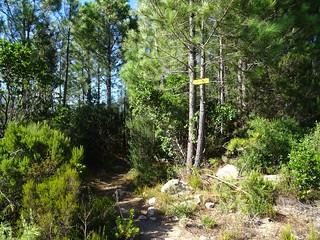 Panneaux à l'extrémité de la piste de Barola sur le PR4