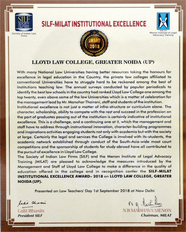 Awards For Excellence in Law - Lloyd Law College Receives 'SILF MILAT Institutional Excellence Award 2018'