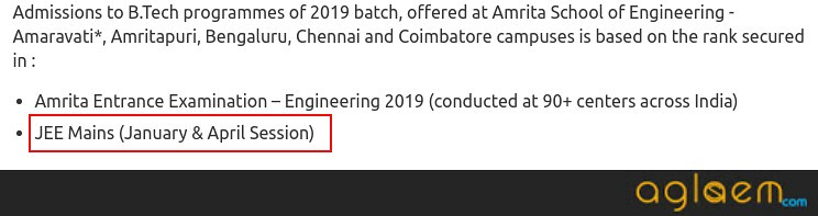 Amrita University 2019 Admissions Via JEE Main As Well; Application Procedure Starts from 1st week of October