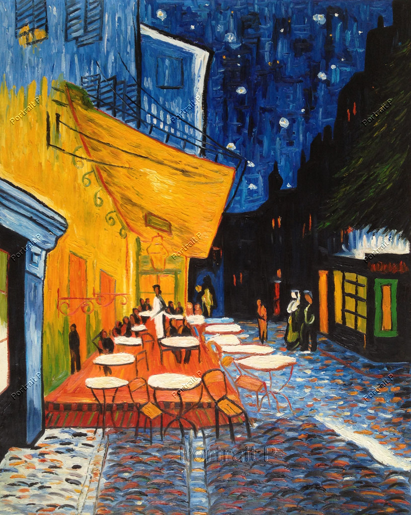 Cafe Terrace At Night Vincent Van Gogh Canvas Art Print Oil Painting//Not Handing