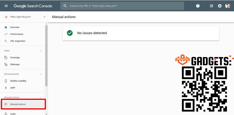 Manual actions (Tác vụ thủ công) trong Google Search Console Beta