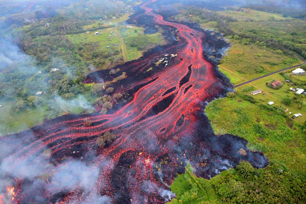 キラウエア火山の溶岩流