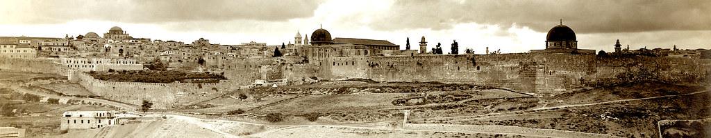 Старая фото-панорама Иерусалима.