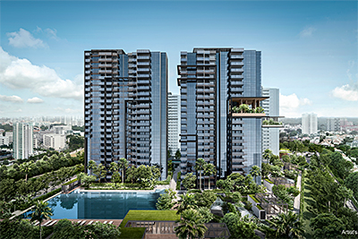 JadeScape is the first major condominium launch after the Government's property cooling measures in July. Average price: S$1,700 per square foot. The 1,206-unit development comprises 236 one-bedders, 403 two-bedders, 265 three-bedders, 261 four-bedders, 39 five-bedders and two penthouses built across seven blocks on 36,985.7 square metres of land. Artist Impression: Qingjian Realty.