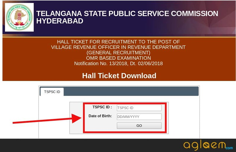 Login Window of TSPSC Hall Ticket