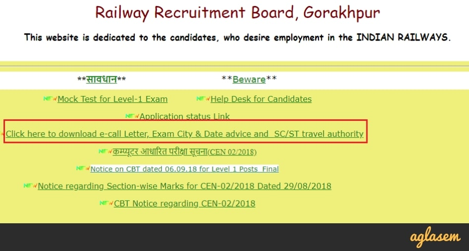 RRB Group D Admit Card 2018 [Live Updates]: Railway Group D
