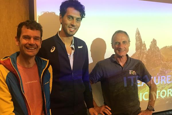 Ο πρόεδρος της WMRA Jonathan Wyatt, ο Alessio Punzi της IAAF και ο πρόεδρος της ITRA President Michel Poletti μετά την κοινή συνέντευξη τύπου | (IAAF) © Copyright