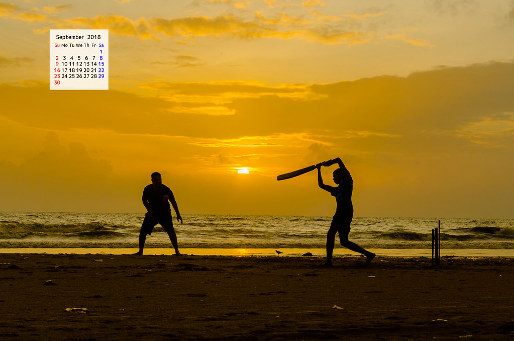 Free download September 2018 Calendar Wallpaper-Sunset Beach Cricket Mumbai