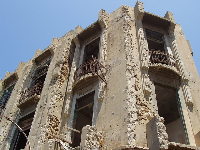 Edificio bombardeado de Beirut (Líbano)