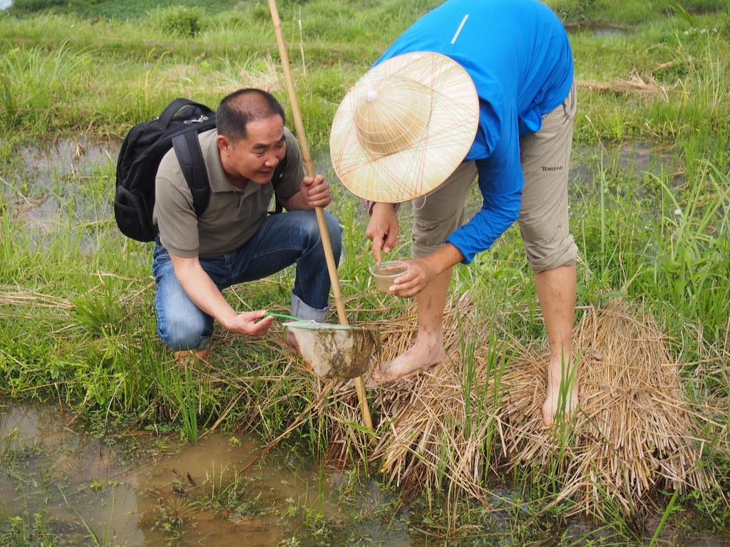 鄧儀與張赫赫拿著觀察盒辨識水中生物