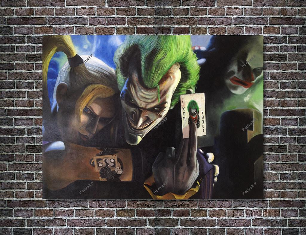 Batman Joker Harley Quinn Oil Painting Hand-Painted Art Canvas NOT a Print 24x32