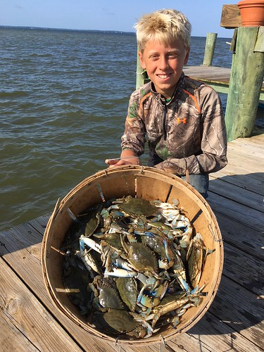 Photo of boy with a bushel of crabs
