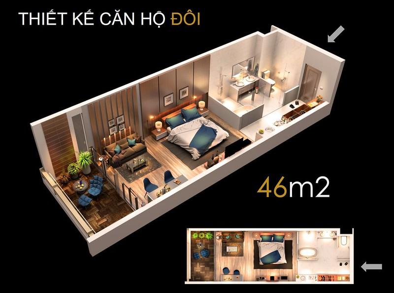 Thiết kế căn hộ đôi 46 m2