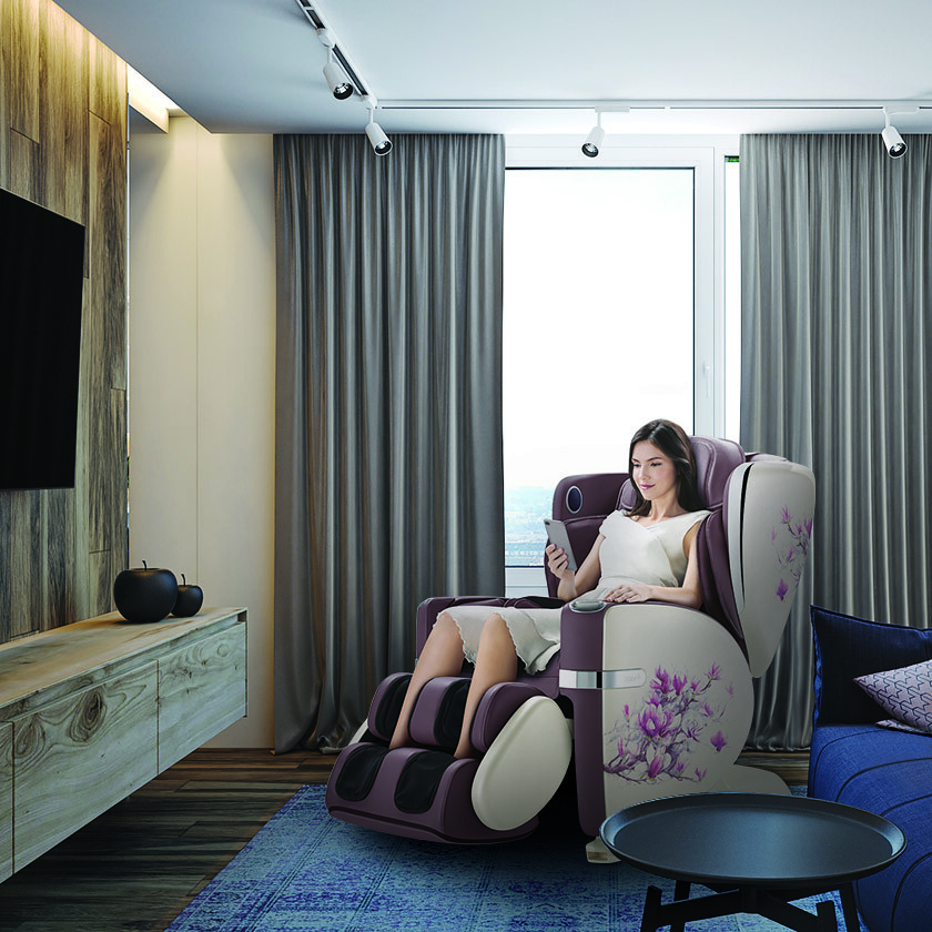 The OSIM uLove 2 can be paired with a personal smart device via Bluetooth. It also has an extendable leg rest for a thorough foot massage. (Credit: OSIM)